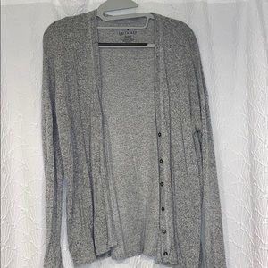 Gray plush cardigan